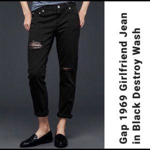 GAP 1969 Girlfriend Black Destroyed Jeans Tall